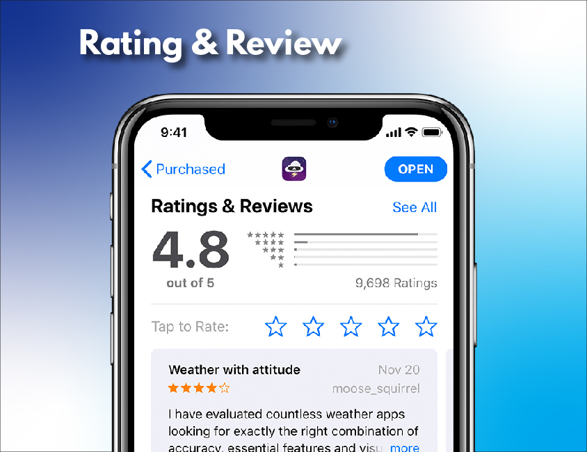 reviews and rating in apple app
